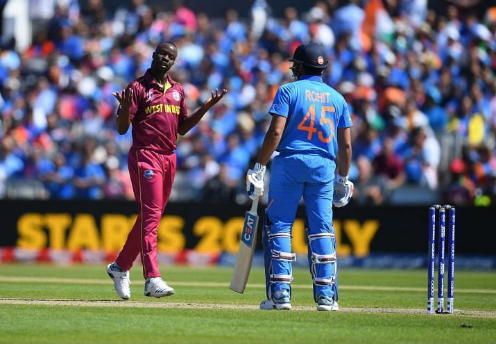 Roach dismissed the in-form Rohit cheaply