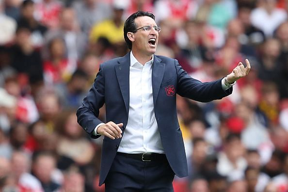 Unai Emery at the pre-season Emirates Cup game between Arsenal and Lyon