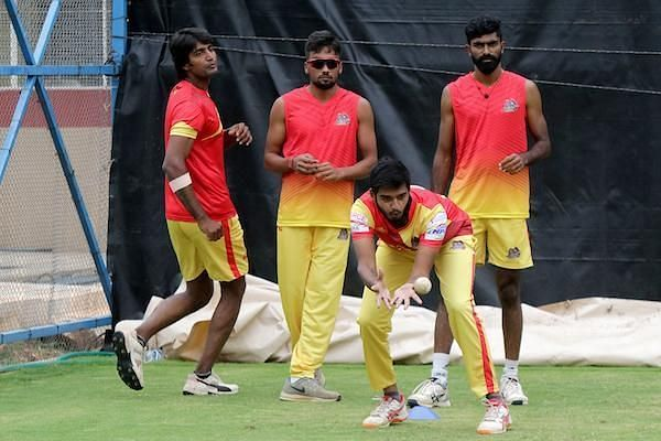 VB Kanchi Veerans team in practice session ahead of their clash against Seichem Madurai Panthers
