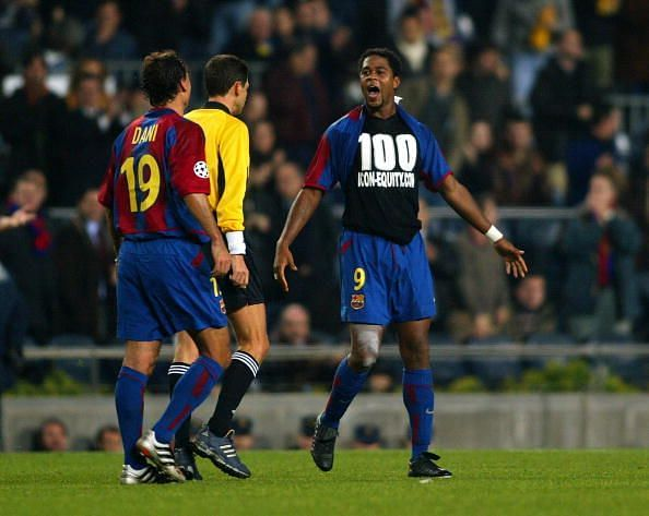 Patrick Kluivert of Barcelona celebrates scoring Barcelona's second goal