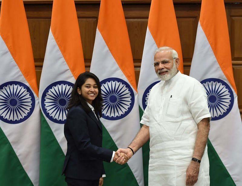 Indian Prime Minister Narendra Modi congratulating Mehuli on her CWG success. Image: Narendra Modi on Twitter
