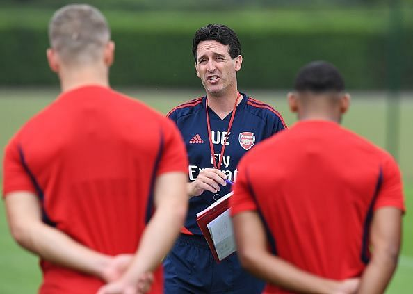 Arsenal Training Session being conducted by Emery