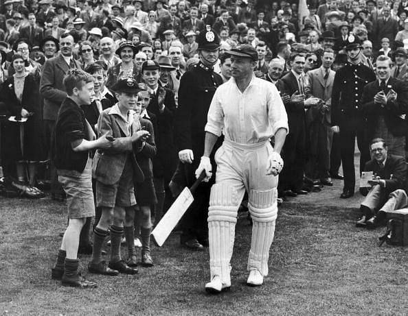 Sir Don Bradman coming out to bat