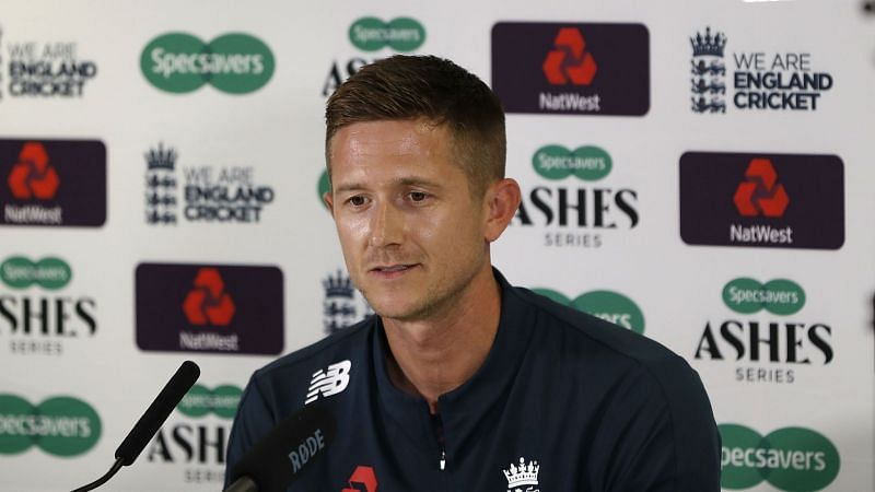 Joe Denly in a news conference at Edgbaston