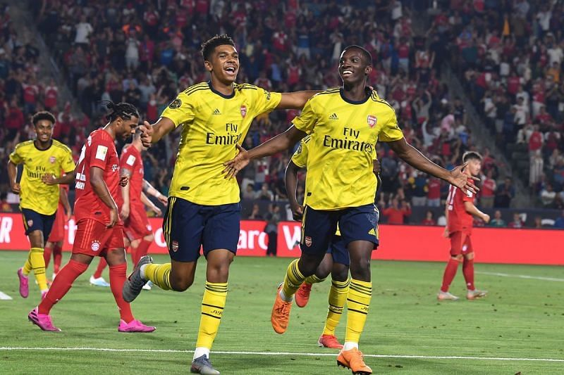 Nketiah celebrates after scoring against Bayern Munich