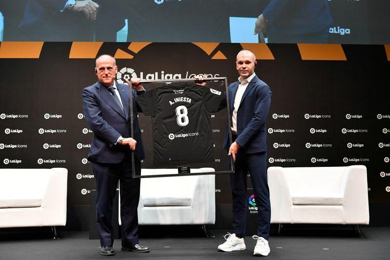Andres Iniesta with Javier Tebas
