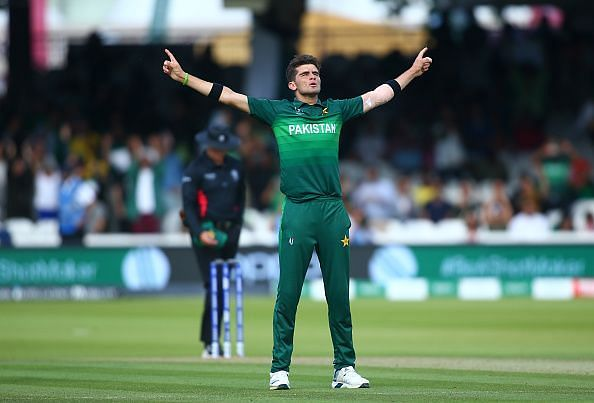 Shaheen Afridi celebrates after a wicket.