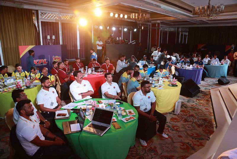 The KPL franchise owners during the bidding process of the Players Auction held in Bangalore on Saturday, July 27, 2019