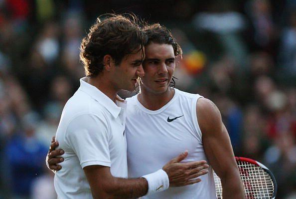 Roger Federer(L) and Rafael Nadal
