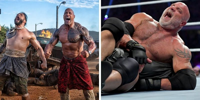 The Rock and Roman Reigns (left); Goldberg (right)