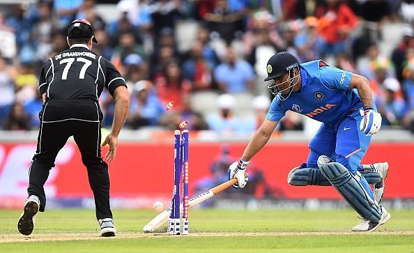 MS Dhoni was run out in the semifinal against New Zealand