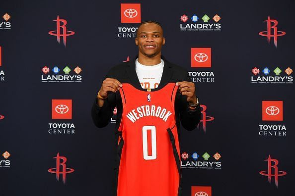 Russell Westbrook was presented to the NBA media following his trade from the Oklahoma City Thunder
