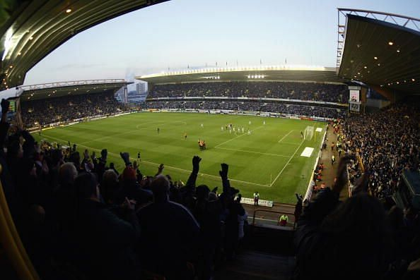 A general view of Molineux stadium as the Wolverhampton Wanderers fans celebrate