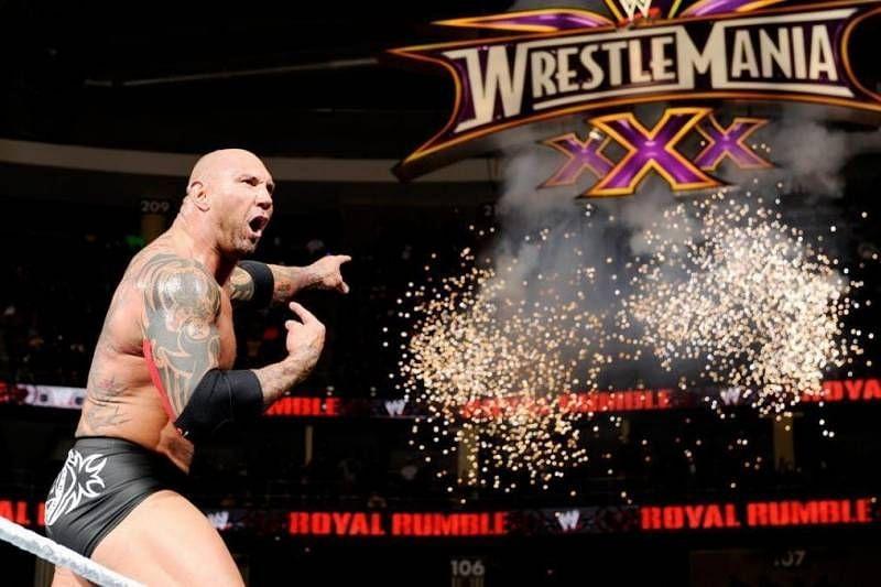 Batista after winning the 2014 Rumble match