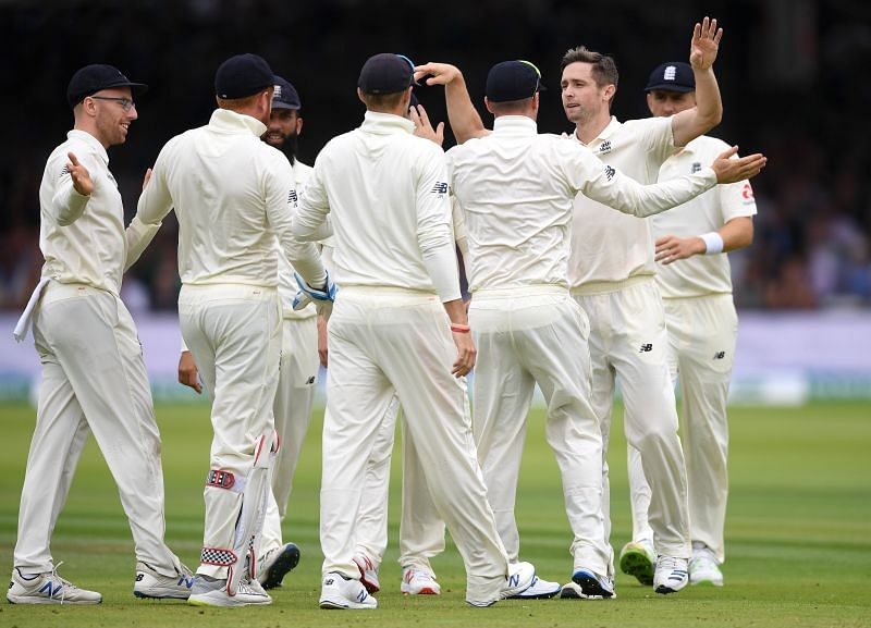 Team England Celebrate a Wicket.