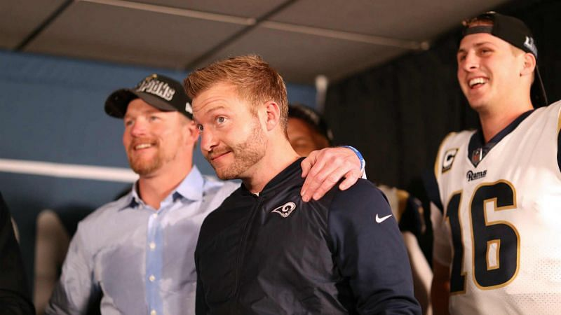 Les Snead, from left, Sean McVay and Jared Goff