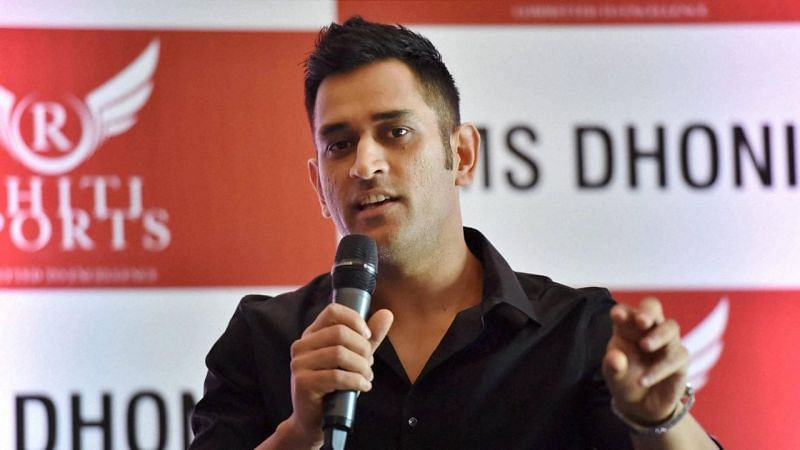 MS Dhoni at a press conference
