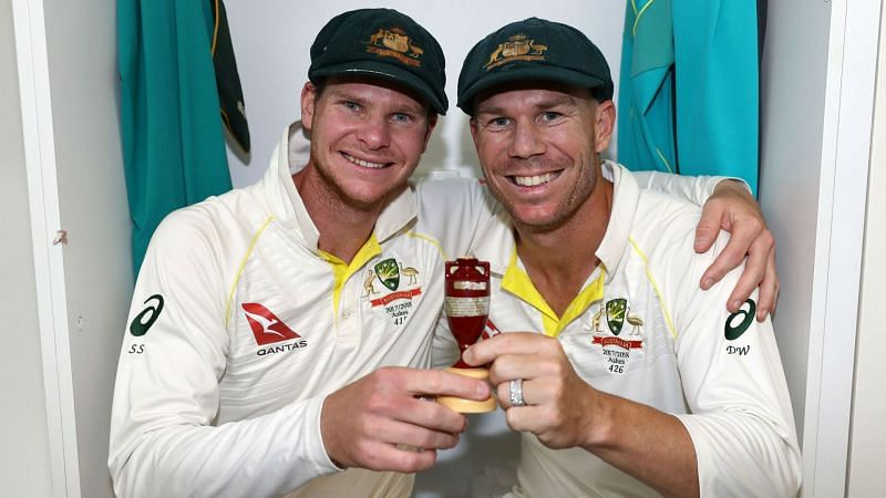 Steve Smith and David Warner celebrate with the Ashes