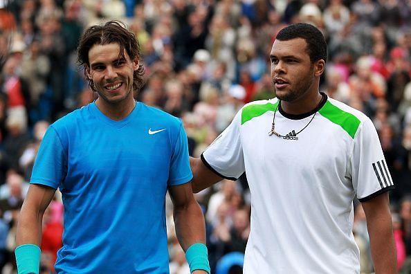 Rafael Nadal(L) and Jo-Wilfried Tsonga