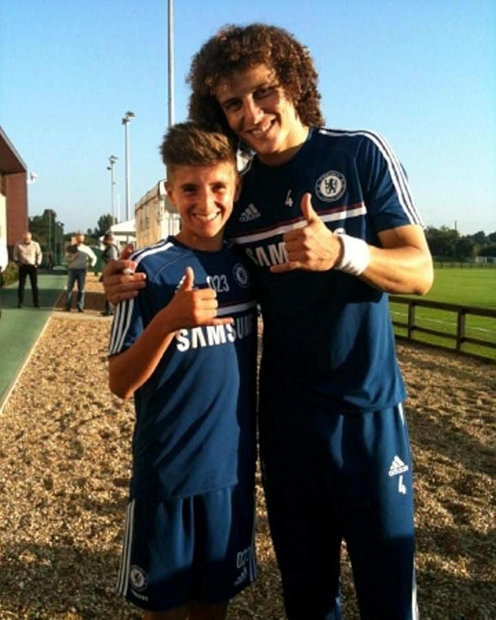 Young Mason Mount (L) pictured with David Luiz