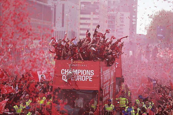 Liverpool celebrate winning their sixth UEFA Champions League title
