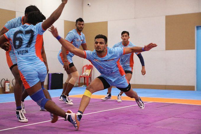 Bengal Warriors players practicing ahead of season seven (Image Credits - Twitter)
