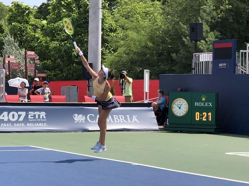Belinda Bencic in action at the Rogers Cup