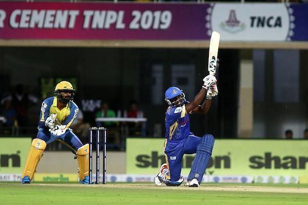 Sarath Raj A of Siechem Madurai Panthers scored 32 runs off 23 balls against Dindigul Dragons in the qualifier game 2 in the Sankar Cement TNPL 2019 at the NPR College Cricket Ground, Natham, Dindigul