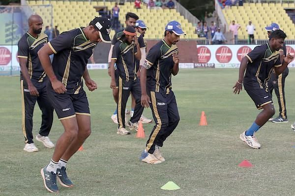Tuti Patriots team in practice session ahead of their clash against iDream Karaikudi Kaalai in Sankar Cement TNPL 2019 at the NPR college cricket ground, Natham, Dindigul