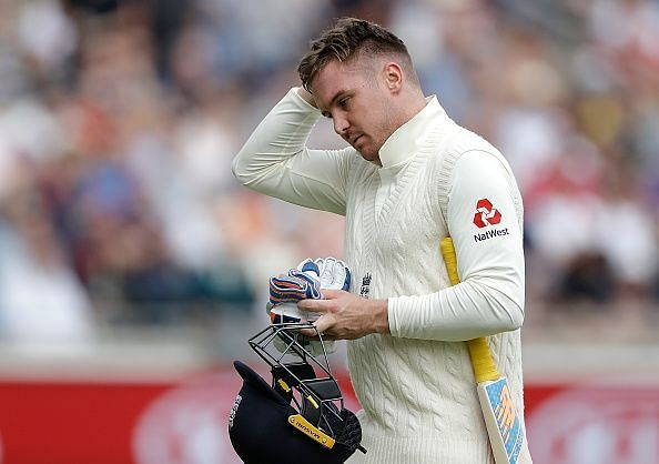 Jason Roy walks back after being dismissed by James Pattinson in the first innings