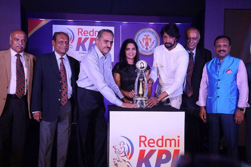 Mr. Srinivasa Murthy NS (Hon. KSCA Treasurer), Mr. Sudhakar Rao (Hon. KSCA Secretary, legendary Indian cricketer BS Chandrasekhar, Indian women cricketer Veda Krishnamurthy, sandalwood superstar Kichcha Sudeep, Mr. Sanjay Desai (Hon. KSCA President) and Mr. Vinay Mruthyunjaya (Official Spokesperson-KSCA).