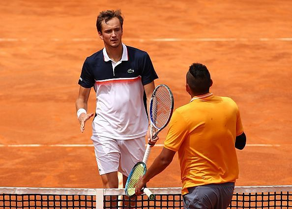 Daniil Medvedev (L) and Nick Kyrgios will face off for the second time