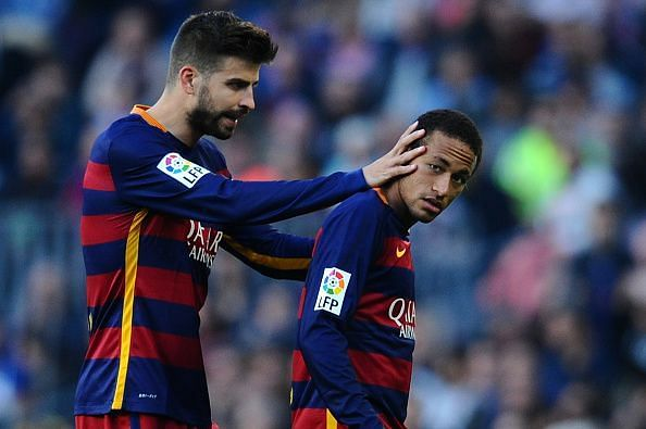 Gerard Pique and Neymar Jr