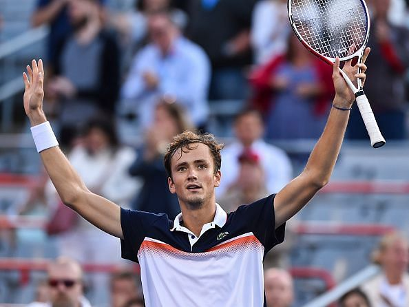 Medvedev celebrates reaching his first Masters 1000 final at 2019 Montreal