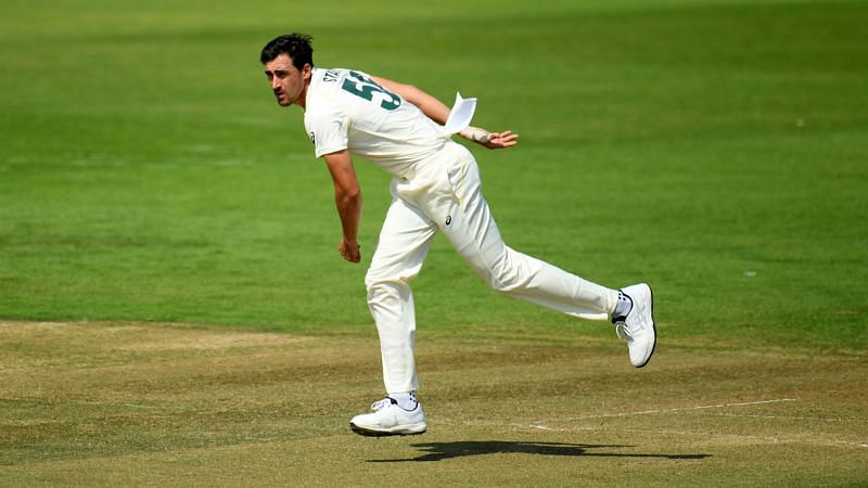 Mitchell Starc bowls during Australia