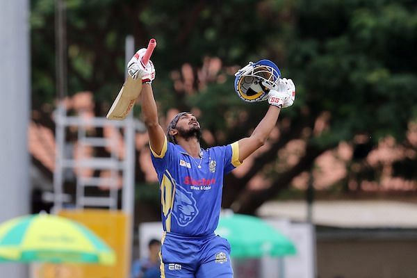 Arun Karthick KB of Siechem Madurai Panthers raises his bat after scoring a century during match 18 of the fourth edition of TNPL 2019