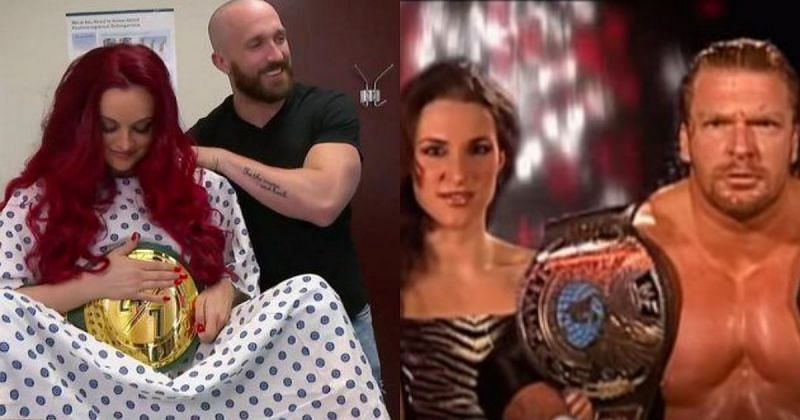 Maria Kanellis recently lost her title to her husband Mike, whilst the Game faced his own wife Stephanie McMahon in 2002.