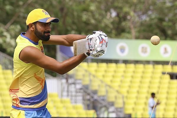 Narayan Jagadeesan of Dindigul Dragons in practice session ahead of their qualifier 2 game against Siechem Madurai Panthers in Sankar Cement TNPL 2019 at the NPR College Cricket Ground, Natham, Dindigul