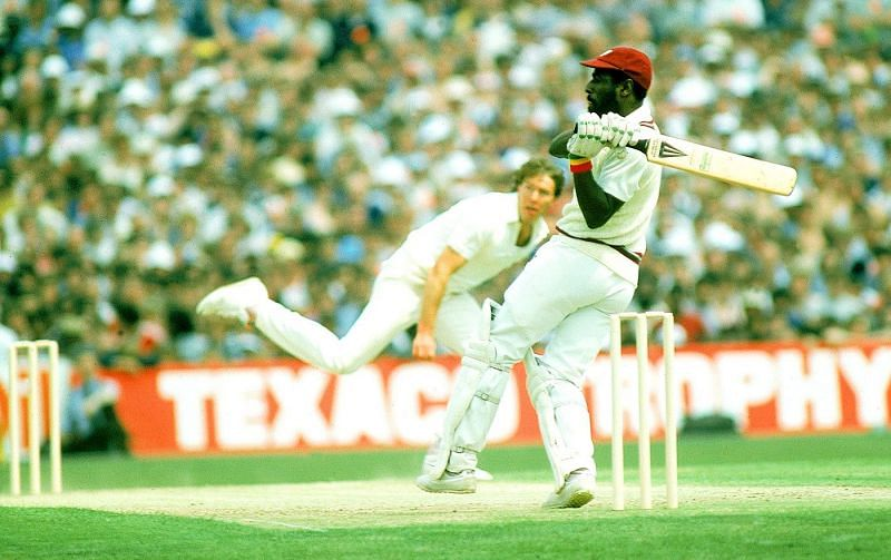 Sir Viv Richards facing the fast bowlers without a helmet.
