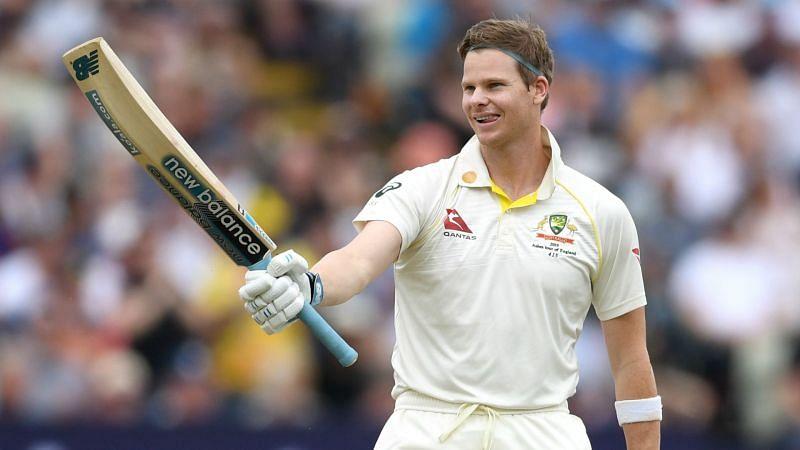 Steve Smith of Australia celebrates a century