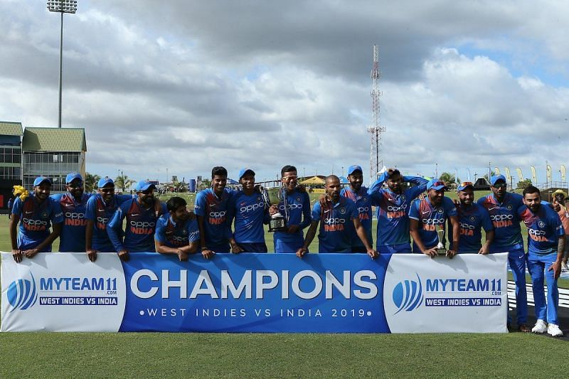 India won the T20I series 3-0 Against Windies. Courtesy: BCCI/Twitter