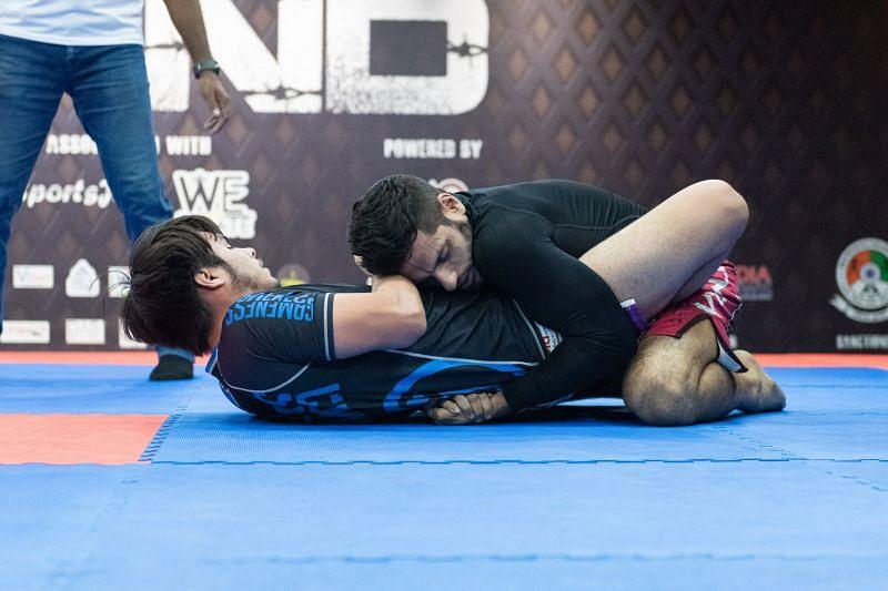 Ryan Davis of Northwest Jiu-Jitsu Academy (USA) takes the fight to Siddharth Singh of Crosstrain Fight Club, (India) during the main event.
