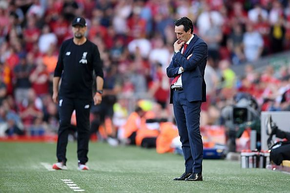 Arsenal's dejected manager