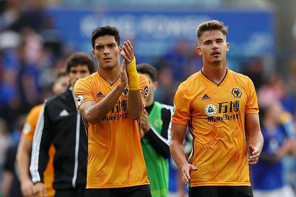 Wolves FC players Raul Jimenez and Leander Dendoncker