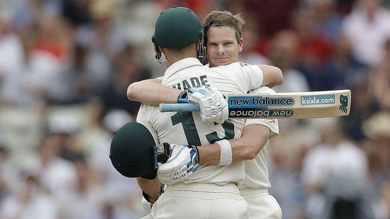 Steve Smith hugs Matthew Wade at Edgbaston