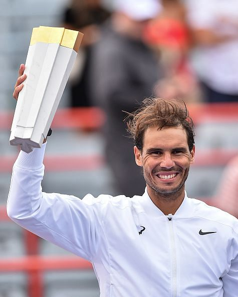 Rafael Nadal lifting his 5th Rogers Cup trophy