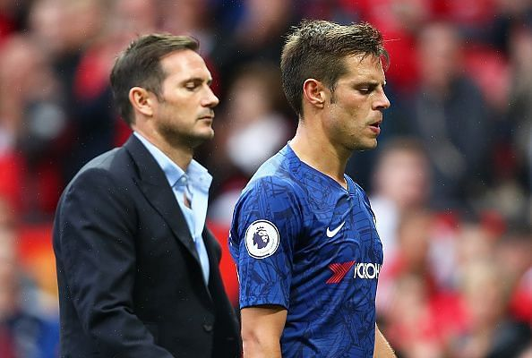 Chelsea manager Frank Lampard with captain Cesar Azpilicueta
