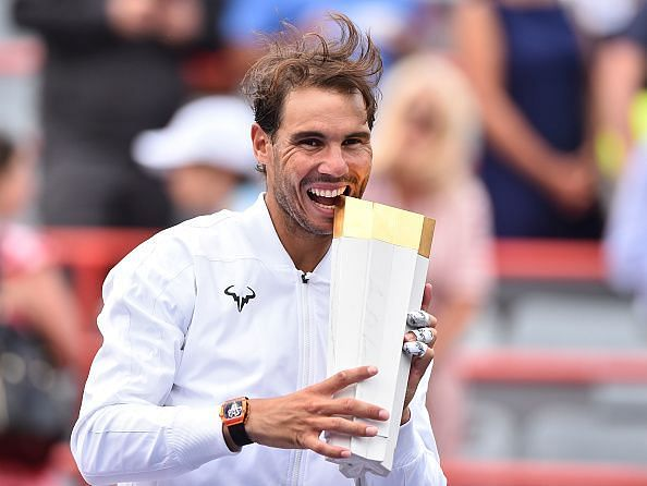Rafael Nadal with the Rogers Cup trophy