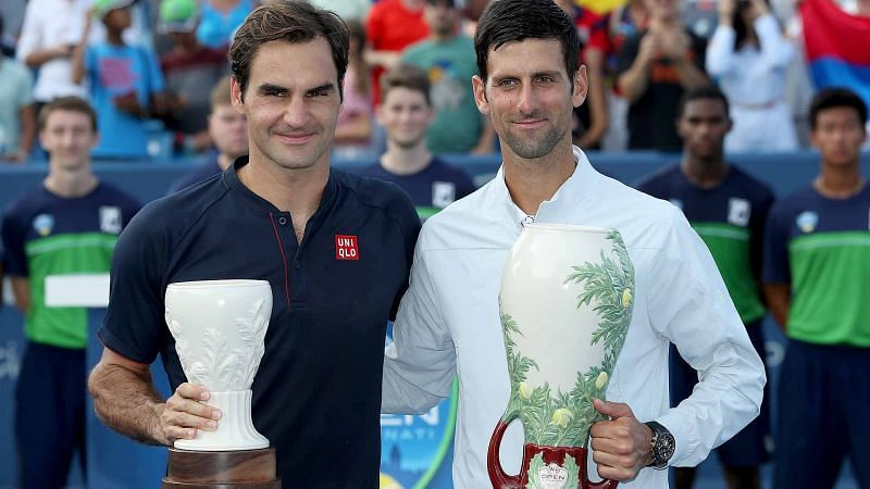 Roger Federer and Novak Djokovic during last year