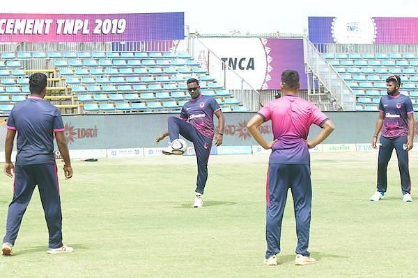 iDream Karaikudi Kaalai team in practice session ahead of their clash against Lyca Kovai Kings in Sankar Cement TNPL 2019 at M.A.Chidambaram Stadium, Chennai